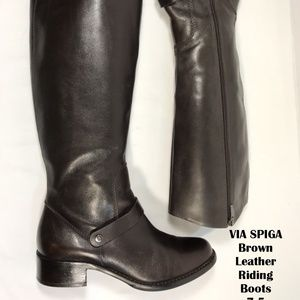 VIA SPIGA Women's Brown Leather Riding Boots